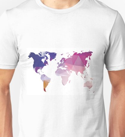 World map in geometric triangle pattern design Unisex T-Shirt