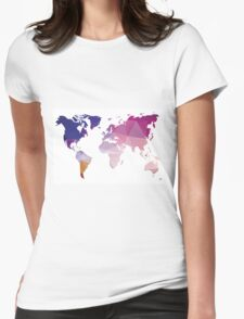 World map in geometric triangle pattern design Womens Fitted T-Shirt