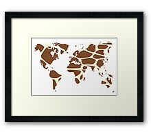 World map in animal print design, giraffe pattern Framed Print