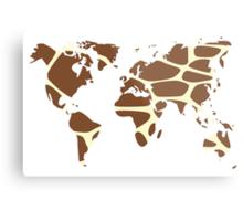 World map in animal print design, giraffe pattern Metal Print