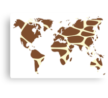 World map in animal print design, giraffe pattern Canvas Print