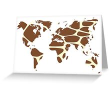 World map in animal print design, giraffe pattern Greeting Card
