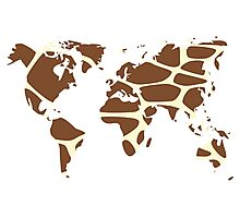 World map in animal print design, giraffe pattern Photographic Print