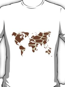 World map in animal print design, giraffe pattern T-Shirt