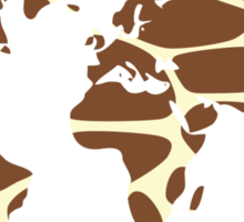 World map in animal print design, giraffe pattern Sticker