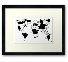 World map in animal print design, black and white Framed Print