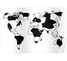 World map in animal print design, black and white Poster