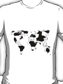 World map in animal print design, black and white T-Shirt