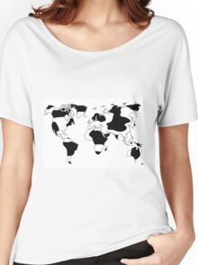 World map in animal print design, black and white Women's Relaxed Fit T-Shirt