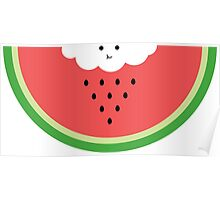 Cloud raining / eating watermelon Poster