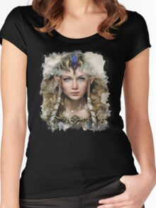 Epic Princess Zelda Painting Portrait Women's Fitted Scoop T-Shirt