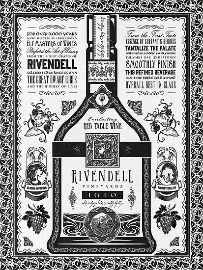 Lord of the Rings Rivendell Wine Vintage Geek Art by barrettbiggers
