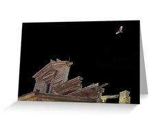 Night Hawk over old building Greeting Card