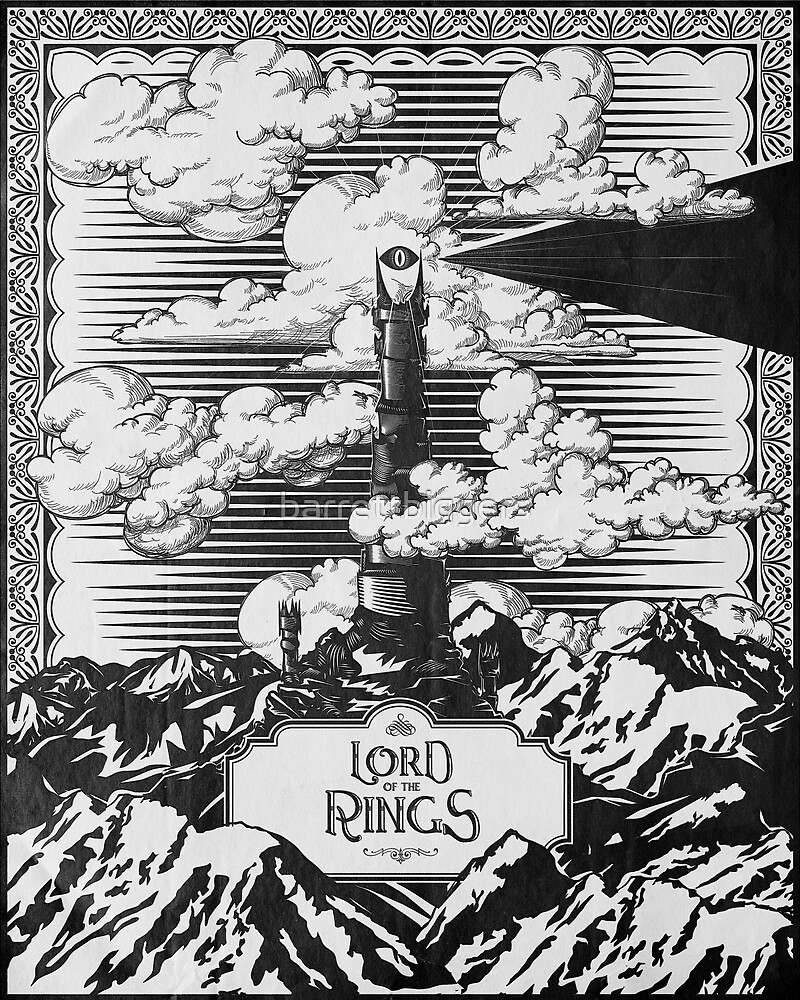 Lord of the Rings Eye of Sauron Vintage Geek Art by barrettbiggers
