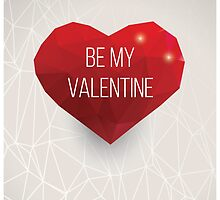 Valentine's day card, geometric triangle pattern, label design, typography by BlueLela