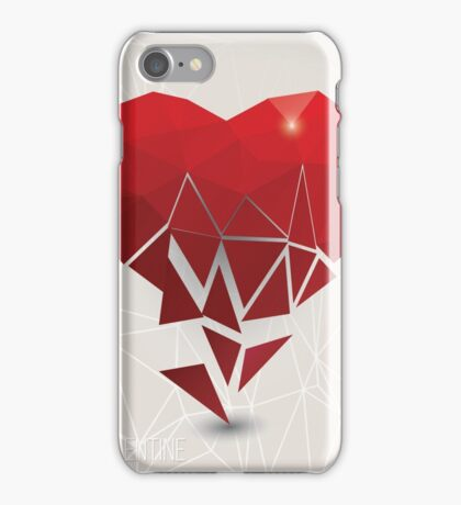 Valentine s day card, geometric triangle pattern, broken heart, label design, typography iPhone Case/Skin