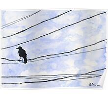 Bird on wire crow blue sky minimalist Poster