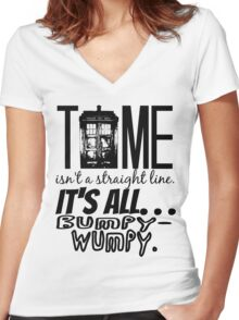 """""""Time isn't a straight line. . ."""" - 11th Doctor Quote Women's Fitted V-Neck T-Shirt"""