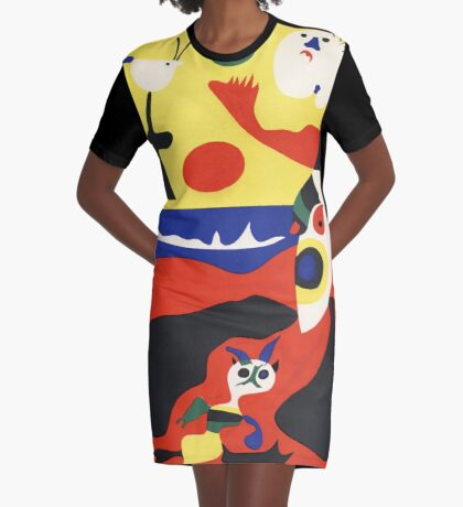 Cat on the Beach Graphic T-Shirt Dress