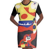 Cat on the Beach Graphic T-Shirt Dress