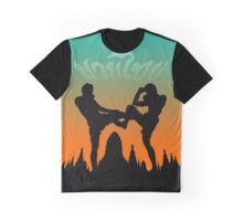 muay thai sunset temple fighter Graphic T-Shirt