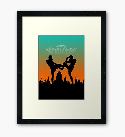 muay thai sunset temple fighter Framed Print