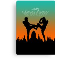 muay thai sunset temple fighter Canvas Print