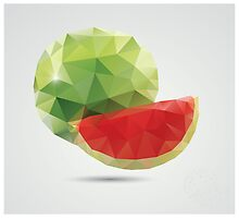 Geometric polygonal fruit, triangles, watermelon by BlueLela