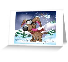 Snow Pup With Oakley Glasses Greeting Card