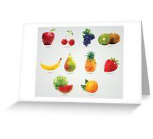 Collection of geometric polygonal fruits, triangles, apple, cherries, grapes, kiwi, orange, banana, pear, pineapple, strawberry, watermelon Greeting Card