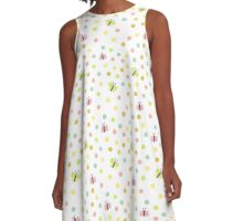 Pretty Butterflies and Polka Dots Pattern A-Line Dress