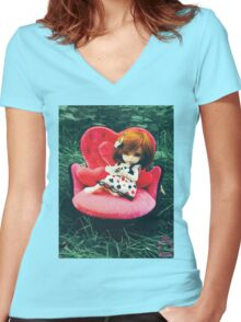 Candyce in Wonderland Women's Fitted V-Neck T-Shirt