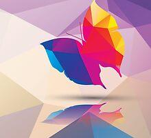 Geometric polygonal butterfly, pattern design by BlueLela