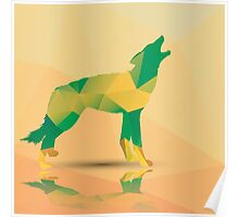 Geometric polygonal wolf, pattern design Poster