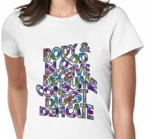 BODY AND BLOOD - church windows Womens Fitted T-Shirt
