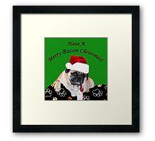Merry Bacon Christmas Pug Framed Print