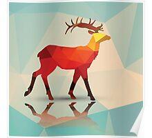 Geometric polygonal deer, pattern design Poster