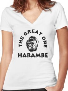 The great one Harambe Women's Fitted V-Neck T-Shirt