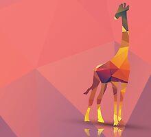 Geometric polygonal giraffe, pattern design by BlueLela