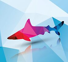 Geometric polygonal shark, pattern design by BlueLela