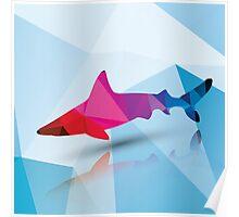 Geometric polygonal shark, pattern design Poster
