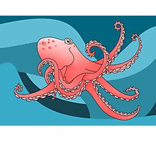 Smiling Octopus in the Blue Ocean Photographic Print