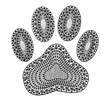 Abstract Ink Dog Paw Print Photographic Print
