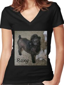 Roxy Doggie Women's Fitted V-Neck T-Shirt
