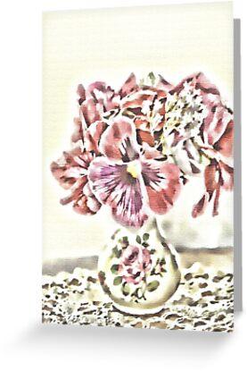 Pansies In Vintage Rose Vase by Sandra Foster