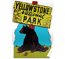 Yellowstone National Park Wyoming Vintage Travel Decal Poster