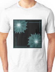 Turquoise flowers on a black background .  Unisex T-Shirt