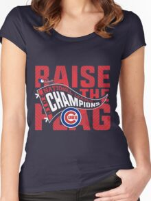 CHICAGO CUBS RAISE THE FLAG Women's Fitted Scoop T-Shirt