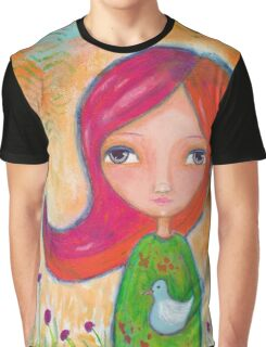 Caring: A Girl and a Bird Graphic T-Shirt