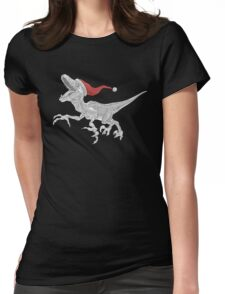 Black and White Christmas Velociraptor Womens Fitted T-Shirt